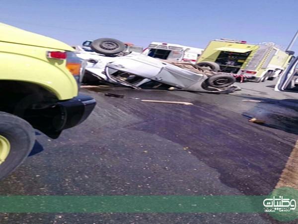 وفاتين و اربع حالات حرجة بحادث تصادم كُورلا بعمود إنارة بطريق العقيق بالباحة