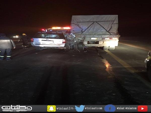 هلال القصيم وفاتين وحالتين متفاوتة الخطورة لعائلة بحادث طريق القصيم الرياض