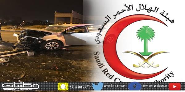 هلال #نجران يُباشرحادث تصادم مركبتين بطريق الملك عبدالله خلفت إصابتين متوسطة