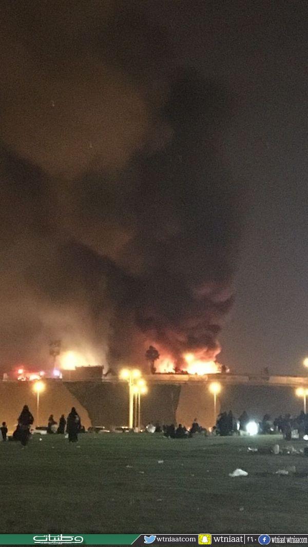مدني #عنيزة يخمد حريق منتجع سياحي نتج عنه حريق كلي لصالة نساء