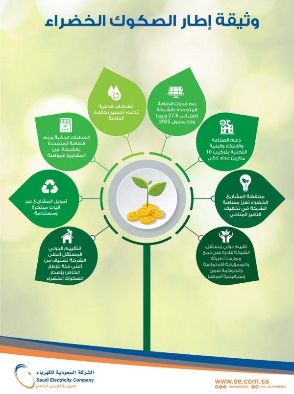 """#السعودية_للكهرباء"""" تنشر إطار إصدار الصكوك الخضراء"""