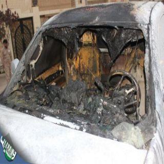 بالصور - القبض على جانٍ قام بإضرام النار بمركبة مواطنٍ بـ #القصيم