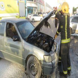 مدني بريدة يخمد حريق اندلع في مُقدمة مركبة على طريق الملك عبد العزيز