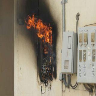 بالصور - مدني #بريدة يُخمد أحتراق عداد كهرباء خارجي بحي الرابية