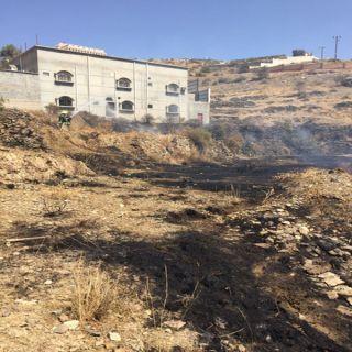 """للمرة الثانية وخلال """"4"""" أيام مدني #الباحة يُسيطر على حريق مُدرجات زراعية"""