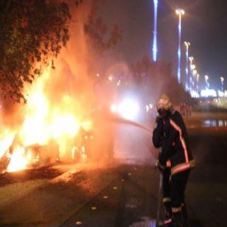 بالصور مدني #مكة يُسيطر على احتراق ناقلة بترول بطريق مكة جدة السريع