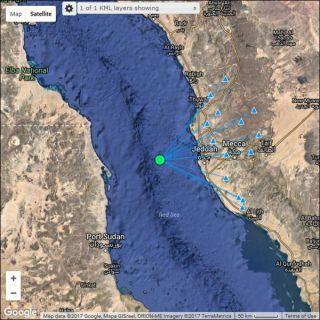 المساحة الجيلوجية ترصد هزة ارضية بقوة 3 درجات على بعد91كم من #جدة