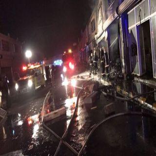مدني #تبوك ينجح في السيطرة على حريق السوق الدولي قبل انتشاره للمحلات المجاورة