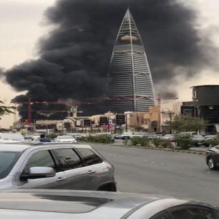 مدني #الرياض السيطرة على حريق مبنى قيد الإنشاء بجوار برج الفيصلية
