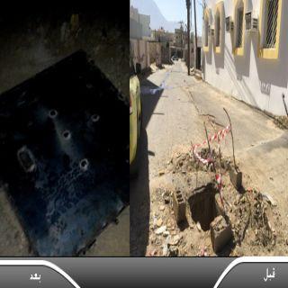 """تجاوباُ مع مانشرته """"وطنيات"""" فرع خدمات المياه في #بارق يُغلق حفريات مقاول مشروع شبكة """"الغيناء"""""""