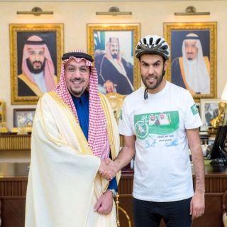 أمير القصيم يستقبل الرحالة فهد اليحيا قبيل إنطلاق رحلته على الدراجة