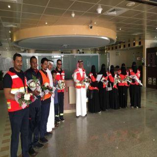 """ضمن برنامج """" معكم """" الفريق التطوعي يزور منومي مستشفى #طريف"""