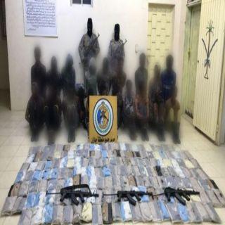 حرس الحدود في (جازان ، نجران) يحبطون محاولات تهريب (٤١٦) كيلو و85جرام حشيش مخدر