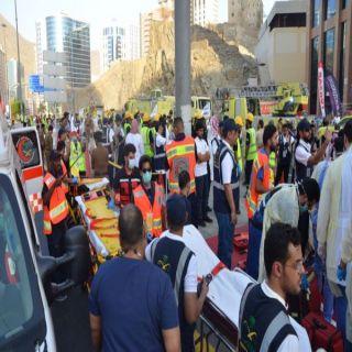 فرق الهلال الأحمر  تشارك في تدريب فرضي حريق وانهيار مبنى في العاصمة المقدسة