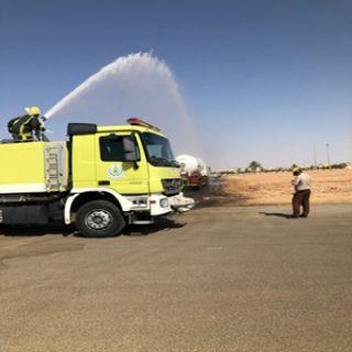 القصيم: مدني رياض الخبراء يُنفذ البرنتمج التدريبي  على كيفية مواجهة حوادث ناقلات الغاز