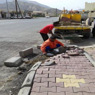 قسم الخدمات ببلدية #بارق يعمل على تحسين الشارع العام