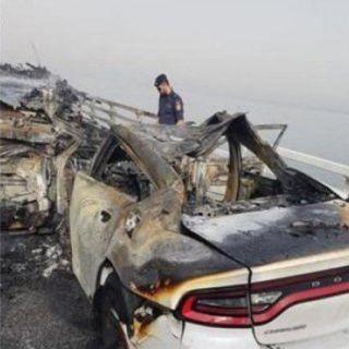 وفاة مواطنين اثنين وإصابة اثنين آخرين إثر حادث مروري على #جسر_الملك_فهد