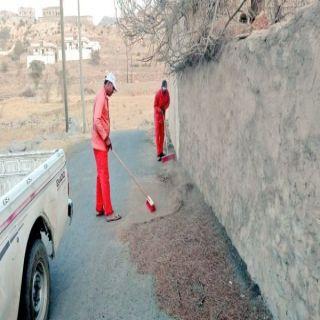 بلدية #تنومة تواصل أعمال النظافة لمُعالجة #التشوه_البصري في عدد من الأحياء