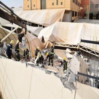 #الرياض: وفاة سيدة وثلاث إصابات في انهيار السور الخارجي وسقف المواقف لـ #جامعة_المعرفة