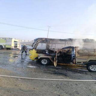 مدني عسير :حادث حريق حافلة طالبات بطريق بارق يخلف (4)إصابات إحداها خطيرة