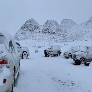 بالصور - مرتفعات تبوك تتوشح البياض والمتنزهين يوثقون تساقط الثلج