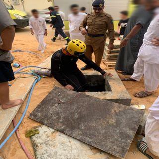 #مدني #بريدة ينتشل طفل سقط بخزان عماره تحت الانشاء بحي الفايزية