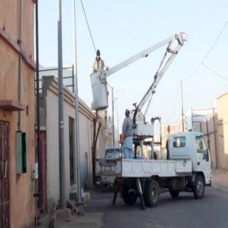 #بلدية_الأسياح تنهي تأهيل (95) عمود إنارة بتقنية LED بمركز أبو الورود