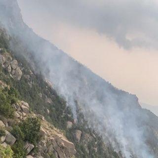 الدفاع المدني يواصل إخماد حريق في إحدى الغابات شمال #النماص