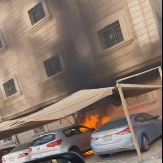 مواطن يُنقذ سُكان أحد الأبنية في الدمام من حريق مركبة كانت متوقفة امام البناية