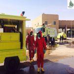 مدني عرعر ينفذ خطة فرضية لحادث انقلاب شاحنة تحوي مادة كيميائية