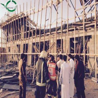أنهيارسقف مبنى تحت الإنشاء بحي المطار بعرعر يستنفرفرق الدفاع المدني والهلال الأحمر
