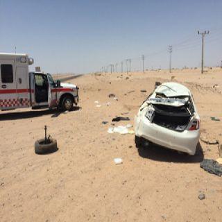 اصابتين متوسطة  في حادث بطريق قيال بمركز شرما تبوك