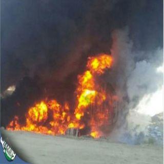 """تحديث(1)#حريق يلتهم #ناقلة #وقود بطريق """"الحيمة"""" بسهول بللحمر"""