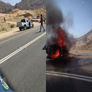 بالصور- حادث #مروري مروع بثربان يؤدي إلى تفحم قائد مركبة ووفاة آخر