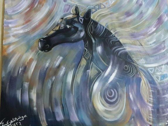 إحدى اللوحات الفنية التي شارك بها في دولة الإمارات الشقيقة